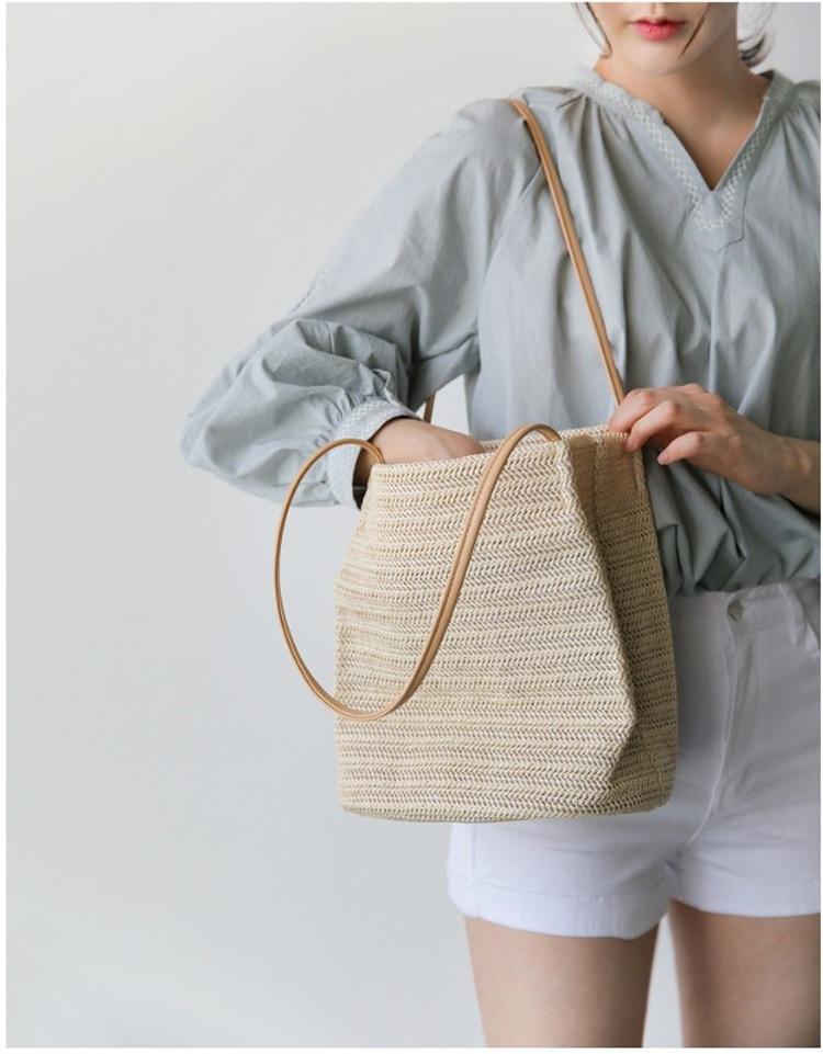 Weaving Bucket Straw bag
