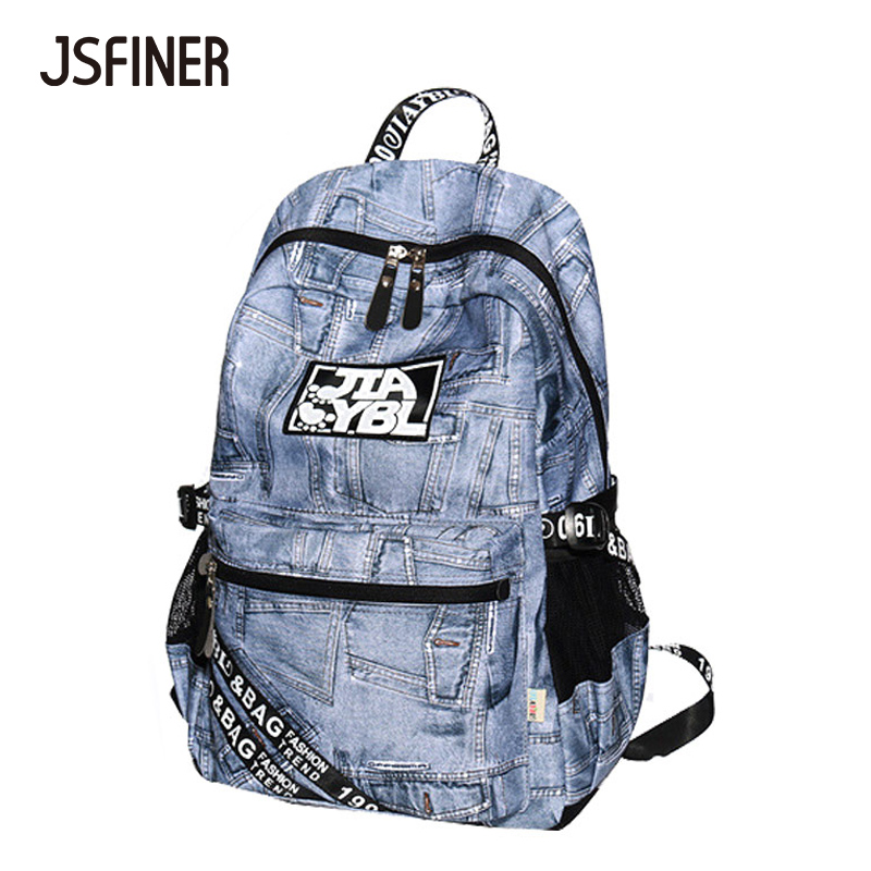 2018 New Summer Denim Backpacks Student Casual Fashion School Bag Shopping Working Traveling Wear-Resistant 20-35 Litre Backpack wear resistant casual men backpack