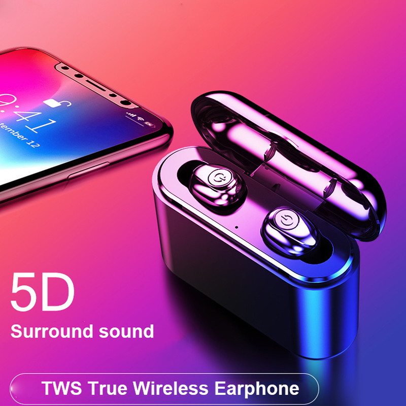 DW-Wogesup X8S Bluetooth Earbuds TWS 5.0 Mini True Wireless Earphones In-Ear Stereo 2200mAh Charging Case for xiaomi IOS Android