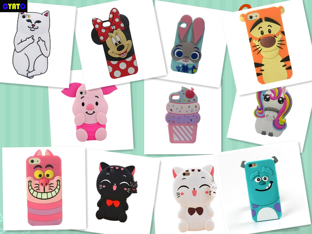 Cyato For Apple iPhone 5 5s 3D Cute Cartoon Sulley unicorn Cupcake Zebra Dog Soft Silicone Case Back Cover For iphone 5C SE case in Half wrapped Cases from Cellphones Telecommunications