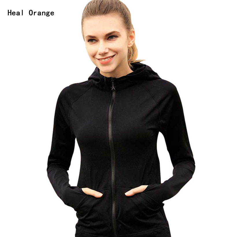 Womens Sport Jackets Zipper Hooded Running Coat Quick-Dry ...