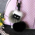 New Two - tone ball fox monster key chain Black Pompom 8cm round ball bag pendant eyes charm keychains leather keychain