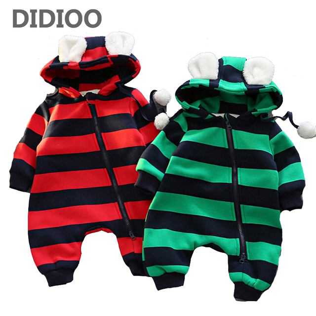 349084d6d526 Baby Clothes Winter Newborn Boys Girls Striped Cashmere Rompers Fashion  Infant Jumpsuit Baby Brand Products Clothing ...