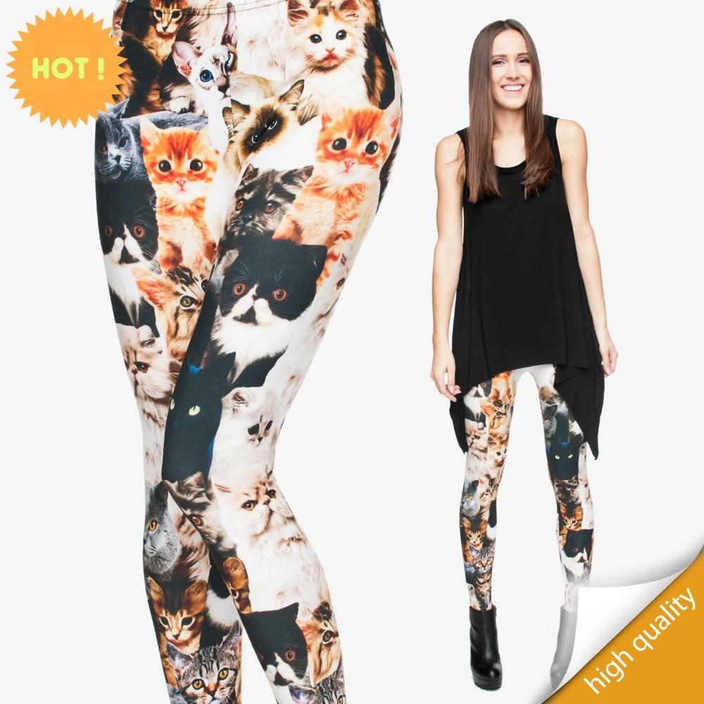 2015 Frauen Neue Ankunft 3d Digitaldruck Leggings Print 3d Katzen Mode Sexy Leggings Plus Hohe Elastische