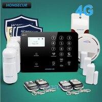 Homssecur GA01 4G B беспроводной и проводной 4 г/3g/gsm, ЖК дисплей дома сигнализации системы + детекторы дыма