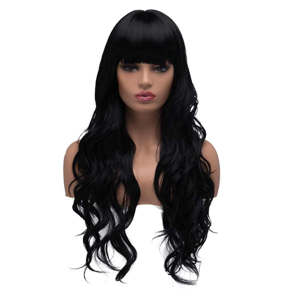 BESTUNG Long Curly Wavy Cosplay Wigs for Women Ladies Synthetic Full Hair Natural Black Brunette Wig with Straight Bangs