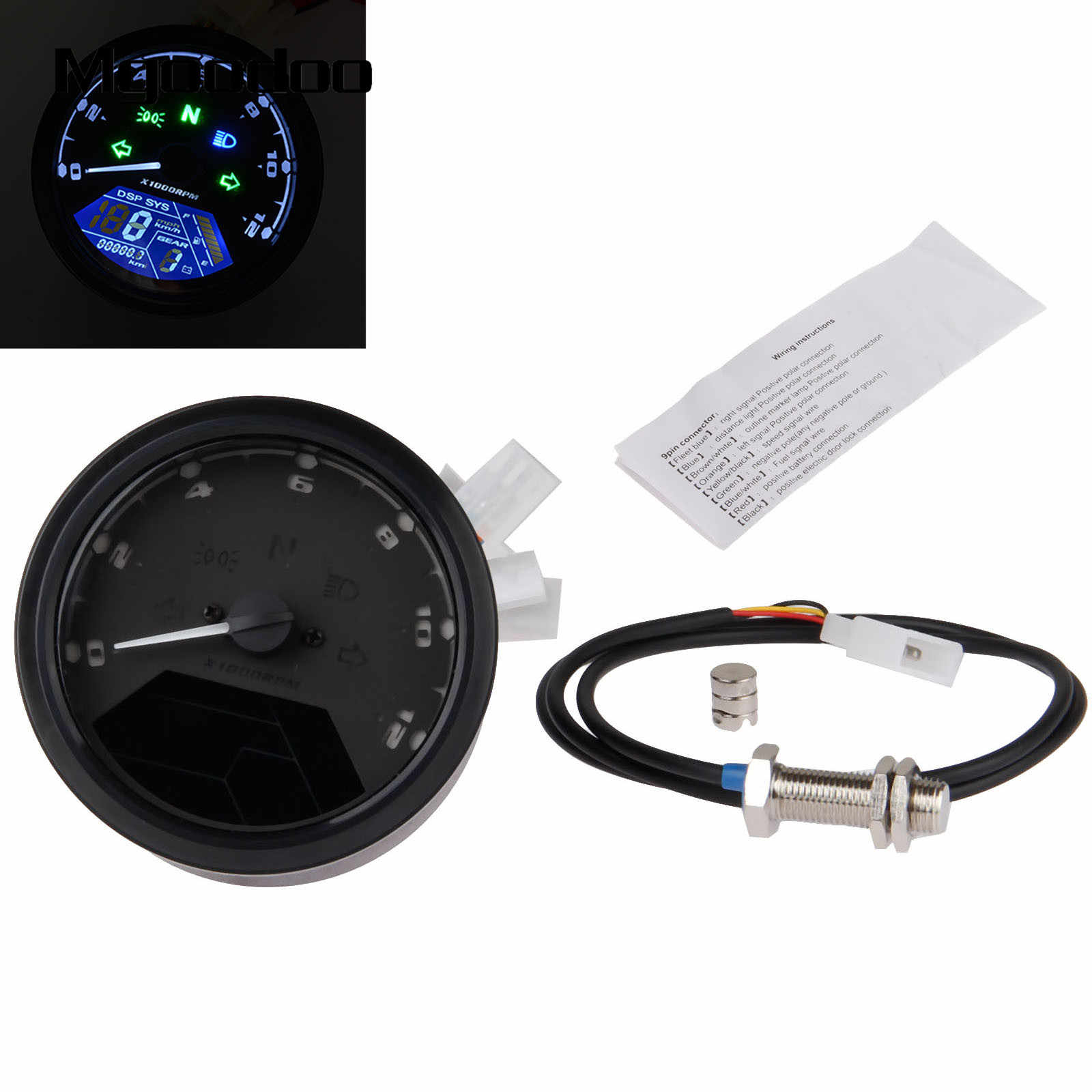 Motorcycle Waterproof LCD Digital Sdometer Odometer Tachometer 12000RMP on