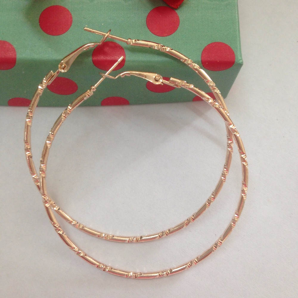 Simple Gold color Big Hoop Earring For Women Statement ...