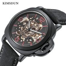 KIMSDUN Automatic Mechanical Skeleton Watch Men Sport Luxury Brand Designer Mens Fashion Steampunk Montre New Arrival 2019
