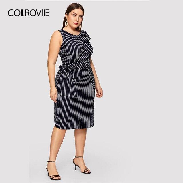 COLROVIE Plus Size Navy Striped Bow Waist Split Elegant Dress Women Clothing 2019 Summer Sleeveless Straight Party Midi Dresses 2