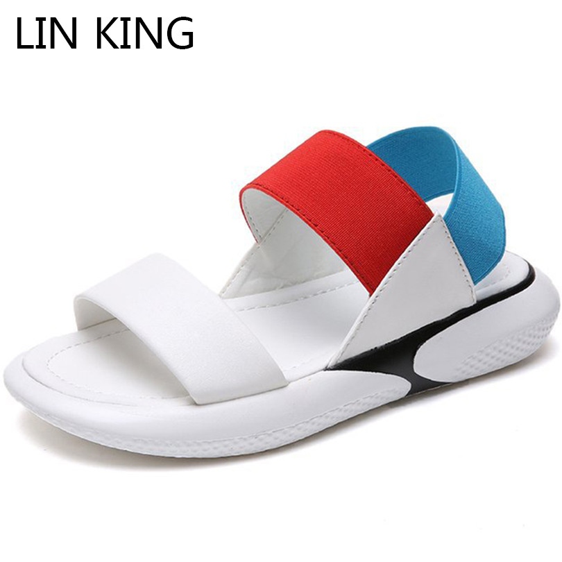 LIN KING Casual Thick Sole Women Sandals Mixcolor Open Toe Summer Platform Shoes Slip On Lazy Wedges Sandalias Girls Beach Shoes lin king thick sole women sandals retro rome gladiator sandals students thick sole platform shoes lace up summer beach shoes