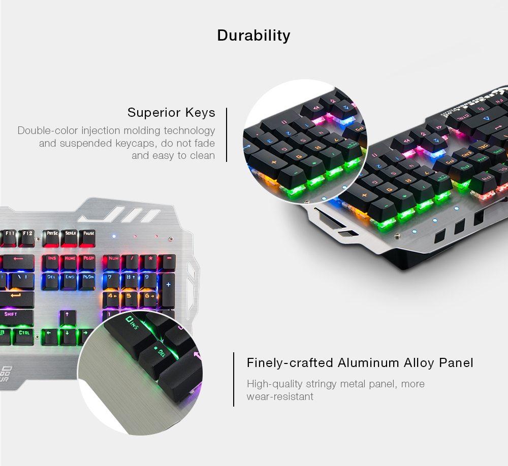 7pin Pk 900 Pk900 104 Keys Mechanical Keyboard Standard Gaming Blue Switch All Key With Backlight For Gamers