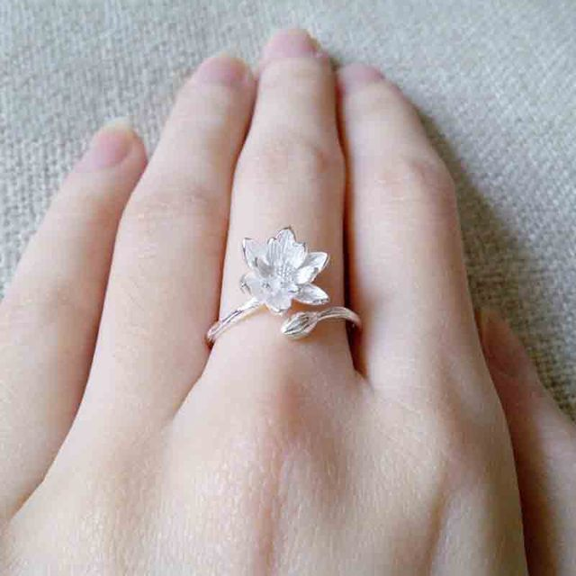 Real 925 Sterling Silver Gold Lotus Flower Rings For Women Lady