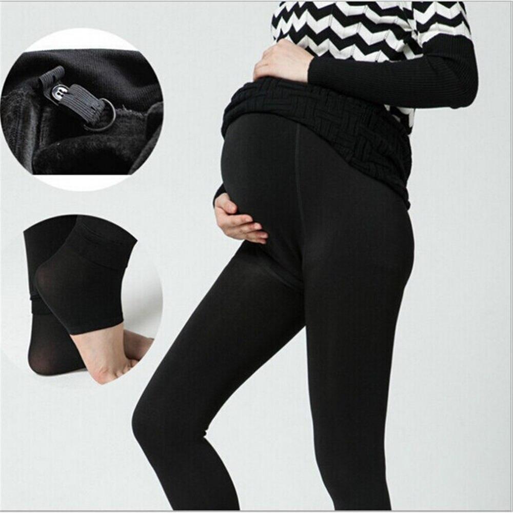 ae6364594 Comprar Nueva maternidad pantalones ropa Plus invierno engrosamiento de  terciopelo mujeres embarazadas calientes alta cintura Suspender pantalones  de ...