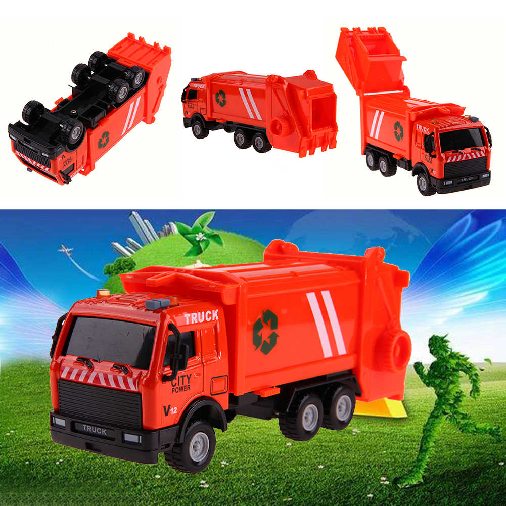 1: 43 Construction Vehicles Toy Alloy Environmental Sanitation Garbage Truck Transport Vehicle Toy Car Model Gift for Children