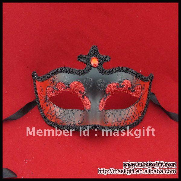Венецианская красная и черная Маскарадная маска с камнем, вечерние каменная маска