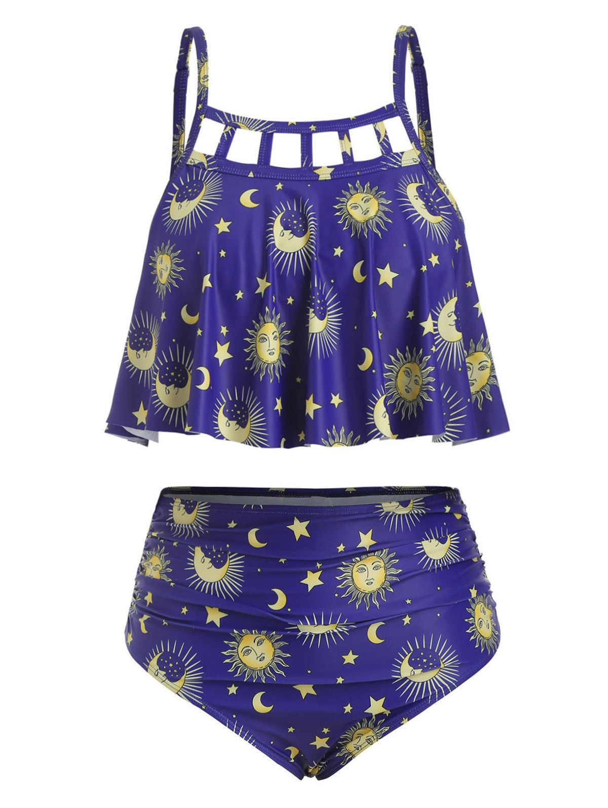 Wipalo, conjunto de Tankini con estampado de lunas de Sol de talla grande 5XL, traje de baño de dos piezas con recortes, ropa de playa para mujer, 2019