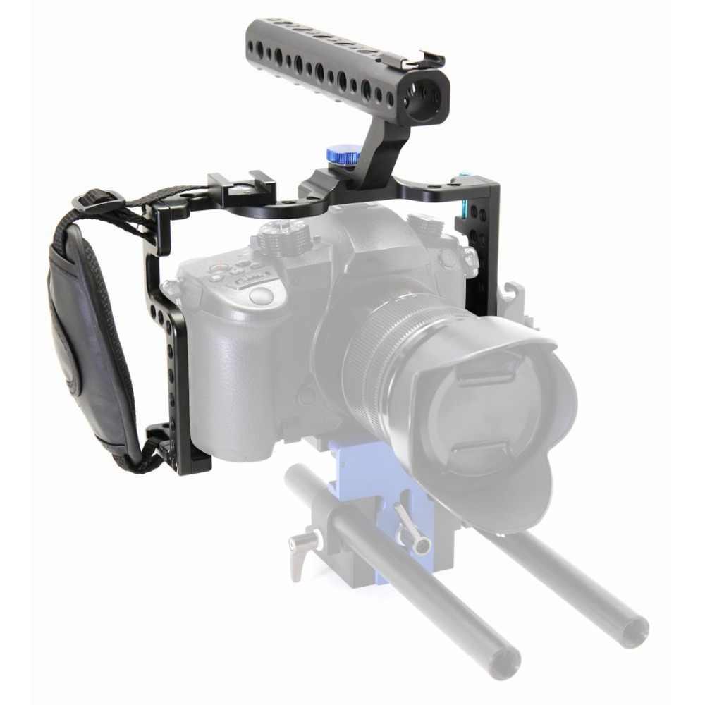 Kamera Cage untuk Panasonic Lumix GH5 / GH5s Pelindung Case Mirrorless Sistem CAM Pemasangan Braket Aluminium dengan Pegangan