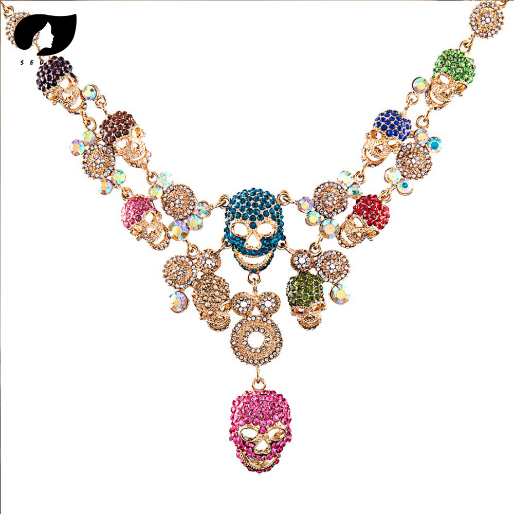 SEDEX Metal Skull Pendant Crystal Chokers Skeleton Necklaces for Women's Fashion Vintage Imported Female Accessory