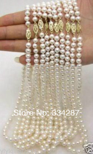 100% Selling Picture full WHOLESALE 10PC 7-8MM WHITE AKOYA CULTURED PEARL NECKLACE 17""