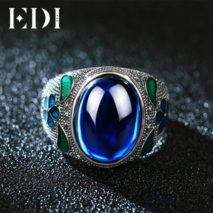 EDI Leaf 10CT Sapphire Vintage Cloisonne Indian Ring 925 Sterling Silver Blue Corundum Jewelry For Women Royal Filigree Enamel(China)