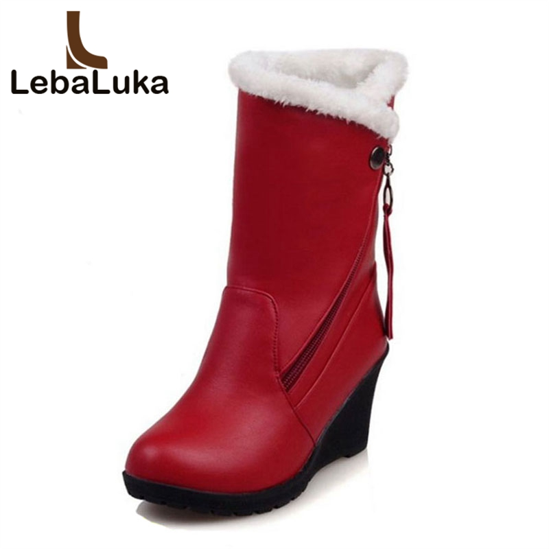 LebaLuka Size 30-52 Woman Round Toe Wedge Mid Calf Boots Women Thickened Fur Winter Warm Snow Botas High Quality Shoes Footwear women high heel half short boots thickened fur warm winter plush mid calf snow boot woman botas footwear shoes p21994 size 34 39