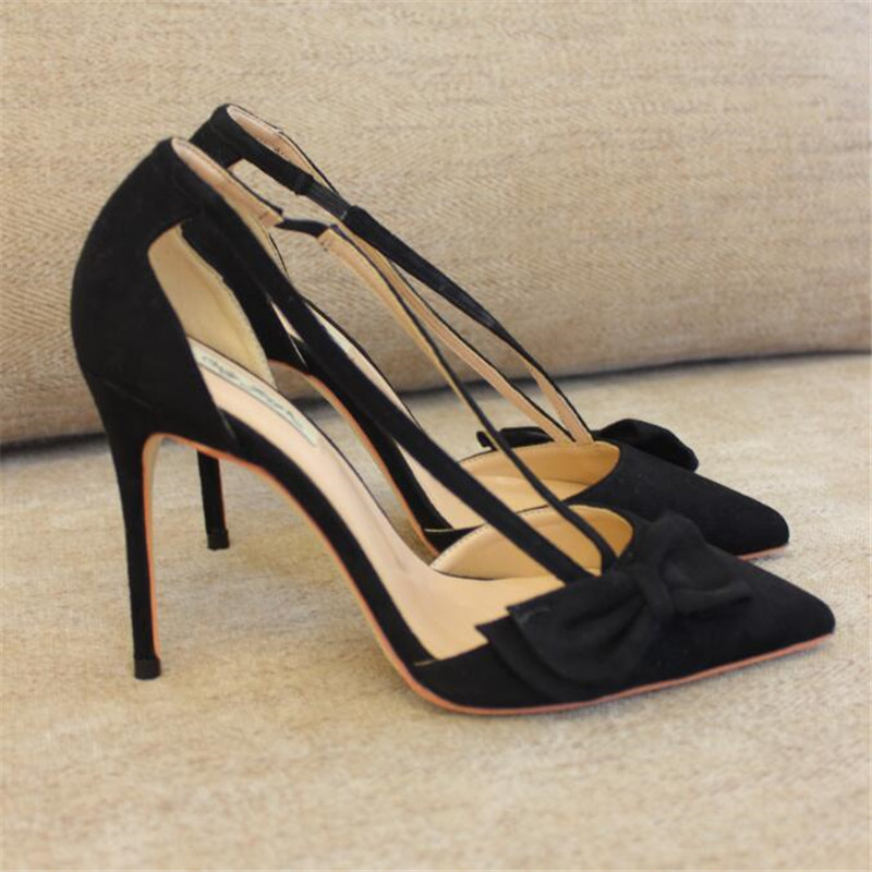 Free shipping fashion women Pumps Black suede bow strappy Pointy toe high heels shoes size33-43 12cm 10cm 8cm Stiletto heeled vintage women linen shoes thai cotton canvas owl embroidered cloth single national flats woven round toe lace up shoes woman