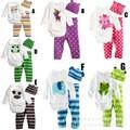 Детская одежда весна осень-тройку многоцветная детская одежда набор детские комбинезоны комбинезон мальчиков костюмы шляпа + t рубашка + брюки