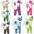 Primavera roupas outono das crianças três-piece multicolor conjunto de roupas de bebê macacões romper do bebê meninos ternos chapéu + t shirt + pant