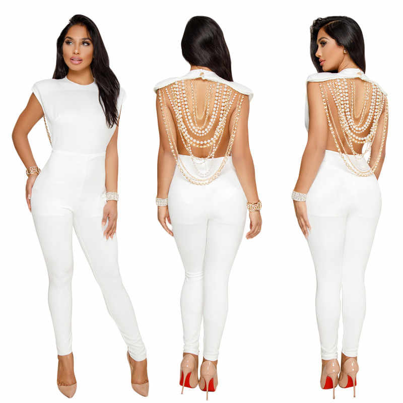 1b333264e132 2018 Sexy Ladies Backless Jumpsuit Women O-Neck Sleeveless Pearl Gold Chain  Skinny Party Club