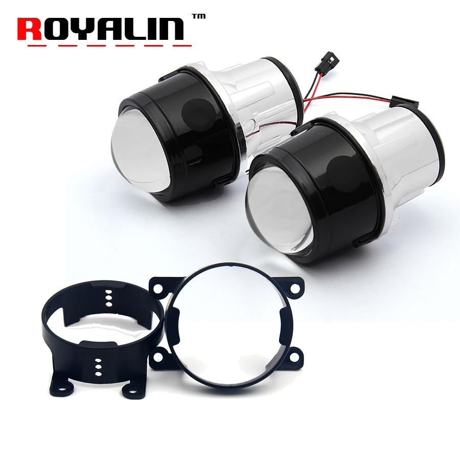 ROYALIN Fog Projector Lens for Ford 2.5 inch Full Metal Bi-Xenon H11 Fog Lenses DIY for Honda CRV Fit/ Subaru/ Renualt/Suzuki fog light lens for ford 2 5 full metal bi xenon projector lens auto h11 fog light