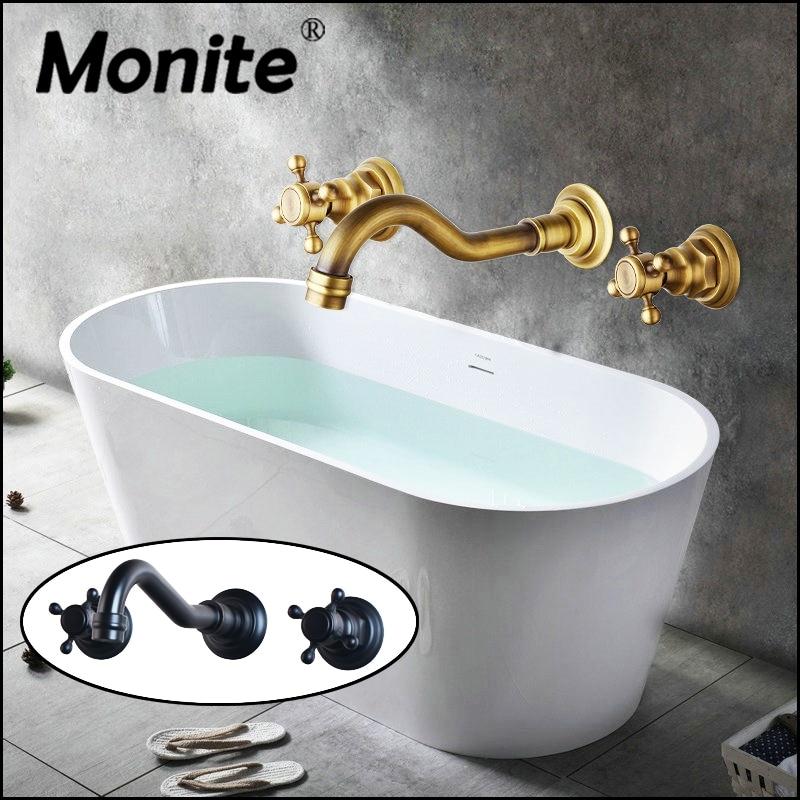 Black Double Handles Bathroom Bathtub Basin Sink Mixer Tap 3 pcs Antique Brass Faucet Set 96102