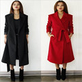 2016 Winter Woolen Coat Women Loose Big Yards Woolen Coat Slim Lace Turn-down Collar Wool Jacket Extra Long Outerwear Coat A1258