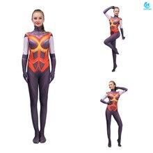 3D printing game Destroyer Cosplay Costume Captain Marvel Zentai Bodysuit Suit Jumpsuits women costume