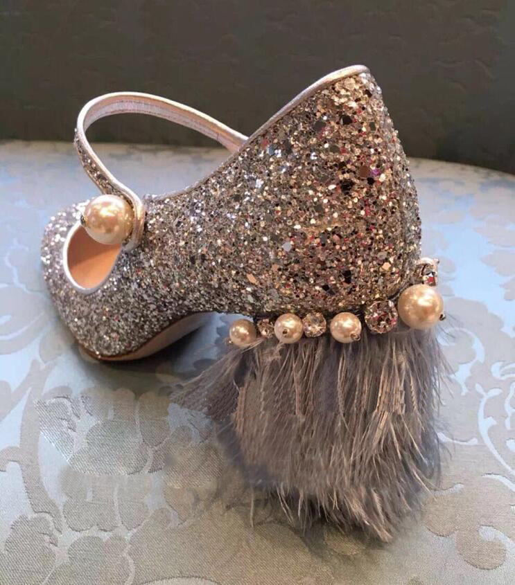 2018 women spring the new silver sequins diamond pearl feather pumps female coarse word buckle strap slip-on Mary Janes shoes