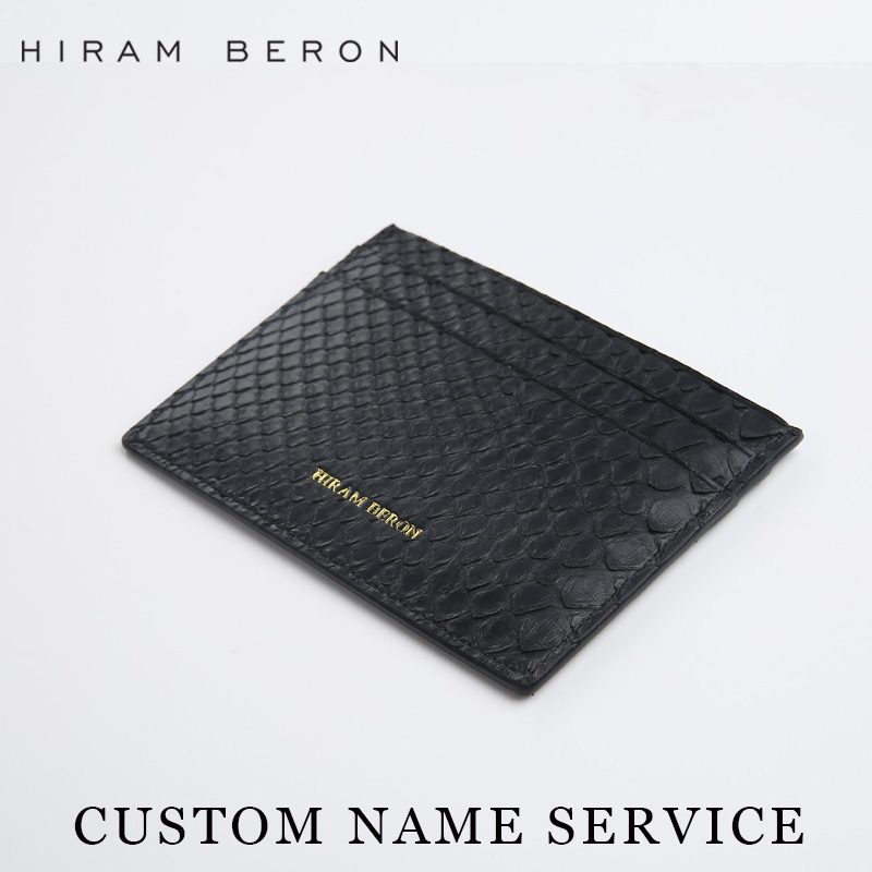 a8222e3e7a1b Hiram Beron Card Holder Snakeskin Pattern Unisex Free Customized Mini Card  Wallet Short Genuine Leather Card ...