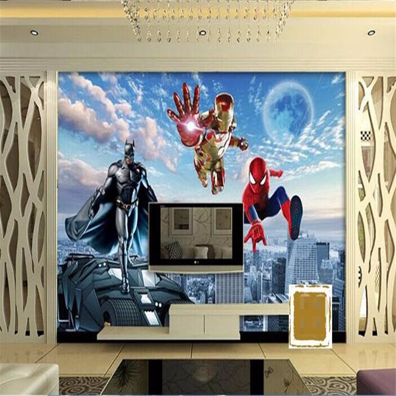 Beibehang 3d Wall Paper HD Cartoon Childrenu0027s Room Bedroom Living Room  Superman Batman Large Painting Wall Mural Wallpaper Part 33