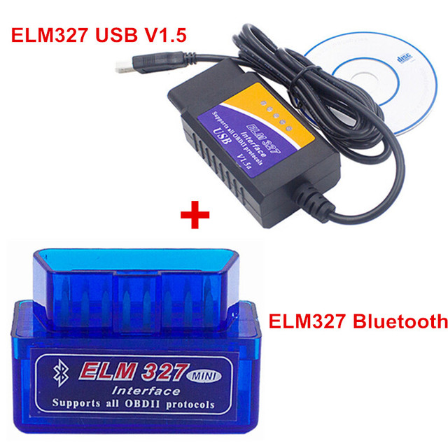 Best Price 2 Items /Pack ELM327 V2.1 Bluetooth + ELM327 USB Diagnostic Tool ELM 327 Bluetooth OBD2 ELM327 V2.1 USB Interface