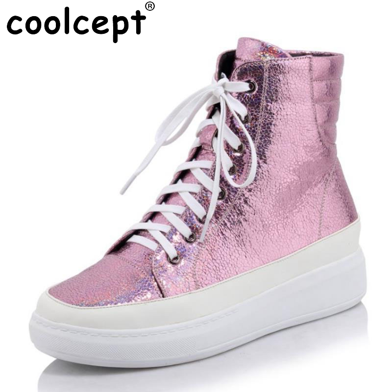 ФОТО New Arrivals Women Casual Ankle Boots Lace Up Increased Internal Solid Shoes Woman Spring Autumn Less Platform Boot Size 34-40