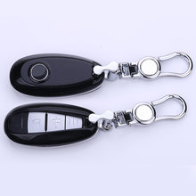 Paint Craft Car key cover case holder ring chain ABS+alloy black/white/red For Suzuki S-Cross 2/3 Button Smart Remote(China)