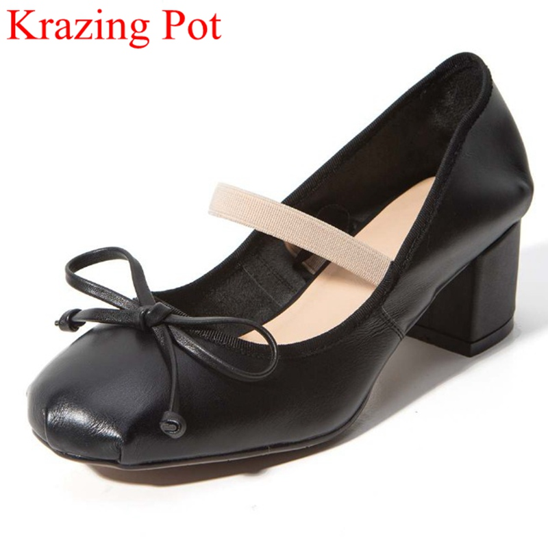 2017 Fashion Genuine Leather Women Shoes Round Toe Preppy Style High Heels Bowtie Pumps Ballet Dance Mary Janes Wedding Shoe L59 2017 shoes women med heels tassel slip on women pumps solid round toe high quality loafers preppy style lady casual shoes 17