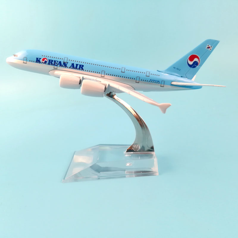 AIRLINES 16CM KOREAN AIR A380  METAL ALLOY MODEL PLANE AIRCRAFT MODEL  TOYS AIRPLANE COLLECTION   GIFT CHILDREN TOYS