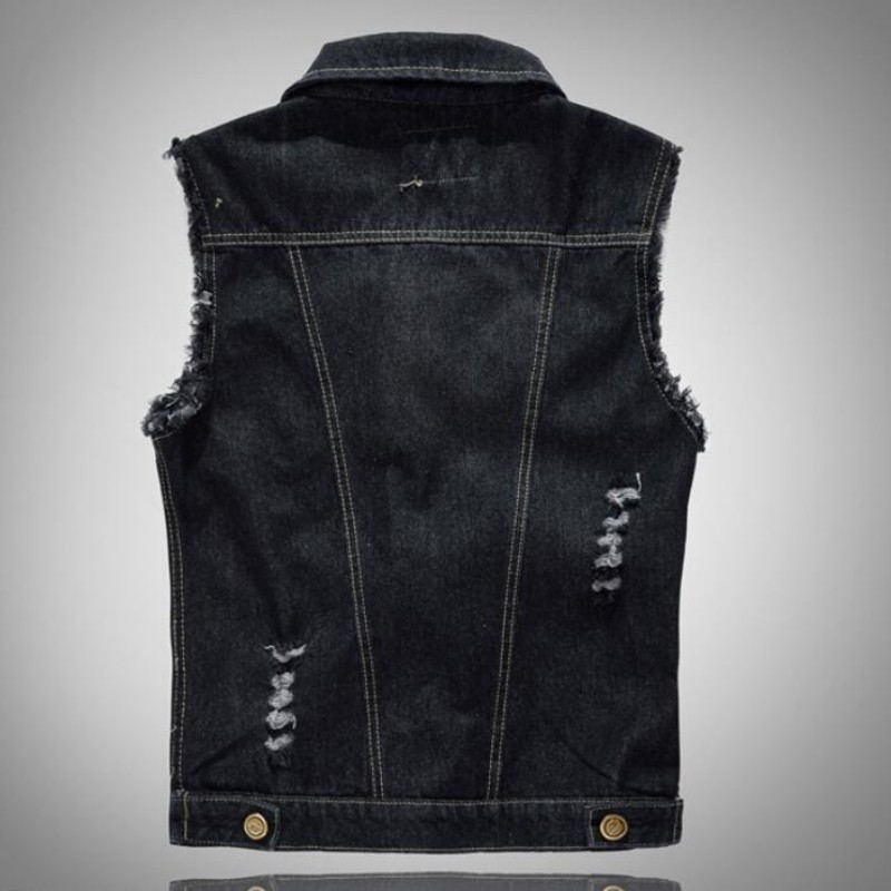 a52a312d964 Fashion Mens Motorcycle Jean Vest Black Ripped Destroyed Washed Slim Fit Sleeveless  Denim Jacket For Men Plus Size 6XL-in Vests   Waistcoats from Men s ...