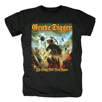 Bloodhoof Grave Digger Liberty Or Death cover men'sblack heavy metal cotton T Shirt Asian Size