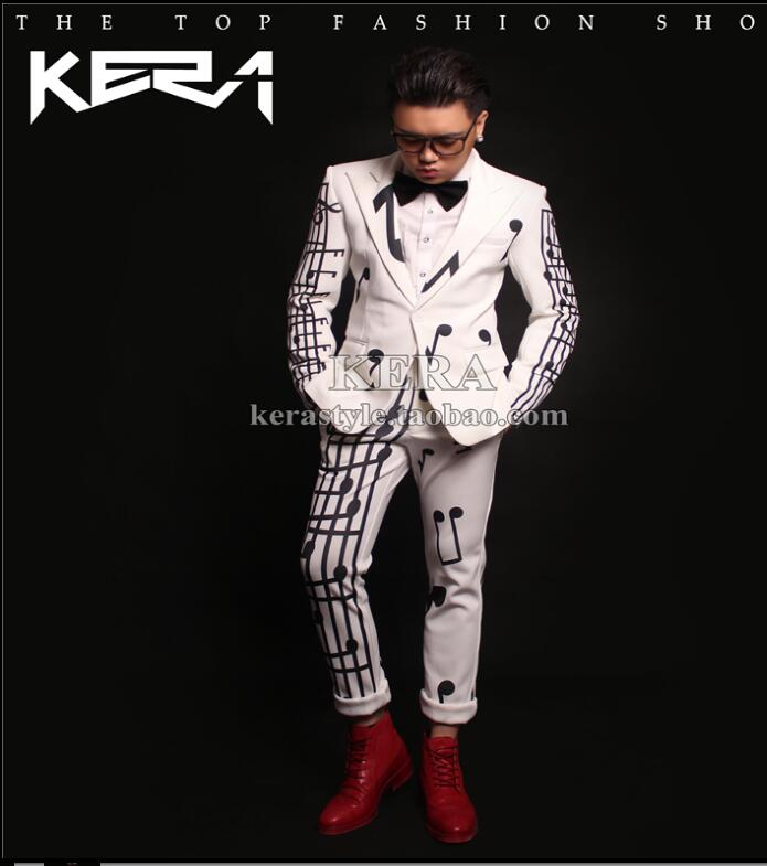 Pattern Suit Jacket Mens Singer Suits Two-piece Set Fashion White Music Symbol Costume Concert Dress Nightclub Clothing 2020