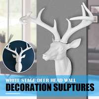 KiWarm DIY Resin White Stage Deer Head Antlers Animal Sculpture 3D Figurines Ornament Model Wall Hanging Home Christmas Decor