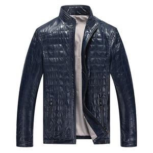 Image 3 - Autunno caldo di Inverno dei Nuovi Uomini di Stile di Cuoio Giubbotti Plaid in Cotone Coreano Casual abbigliamento In Pelle Mens Cappotti Giacca moto