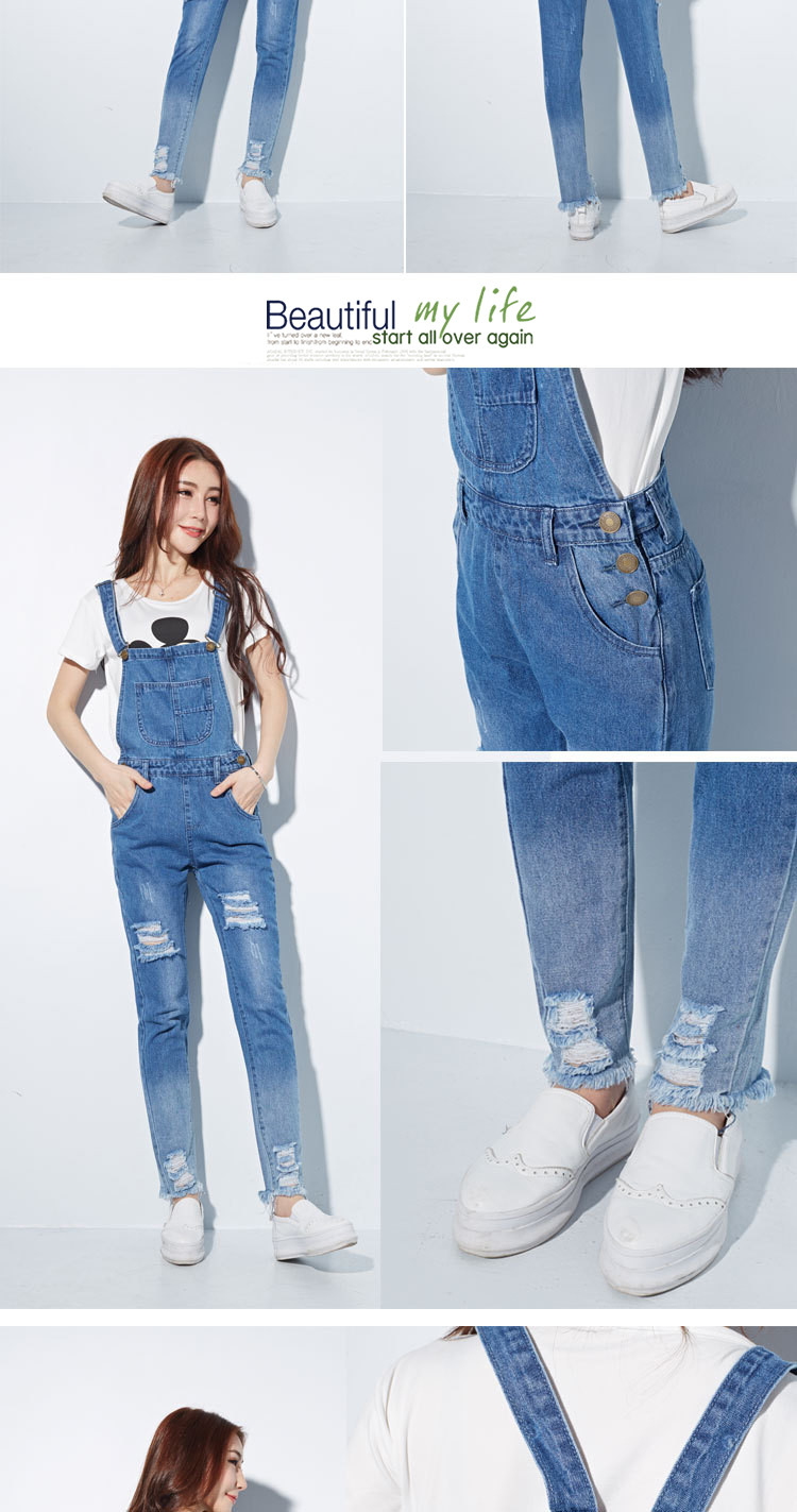HCYO Fashion Jumpsuit Female Denim Overalls for Women Bodysuit salopette femme En Jean Women Ripped Hole Denim Jumpsuits Rompers (6)