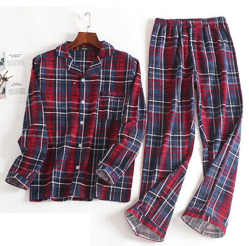 4b1a106b14 Spring winter cotton pajamas men blue grid home suit image