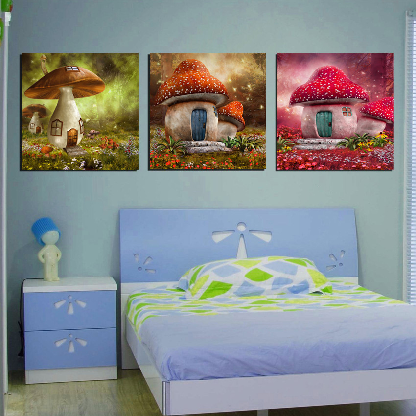 Online kopen wholesale paddestoelen schilderijen uit china for Kids room canvas